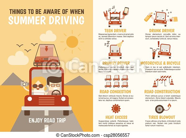 infographics cartoon character about things to be aware of when summer driving - csp28056557