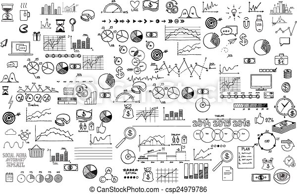 infographics collection hand drawn doodle sketch business ecomomic finance elements - csp24979786