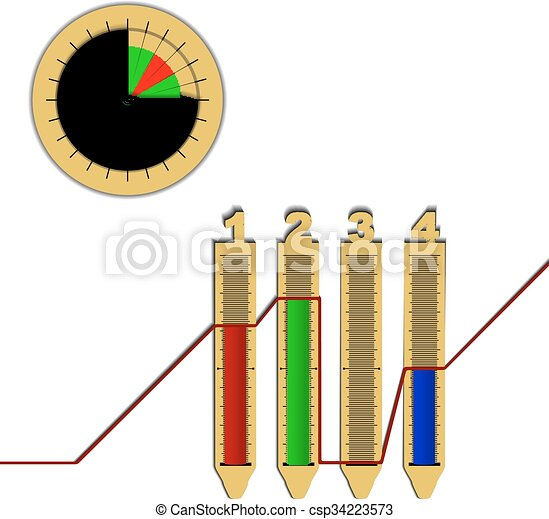 Infographics Line Graph Pie Chart Vector Illustration Of A Pie
