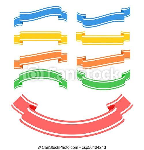 infographics, plat, ensemble, publicité, coloré, espace, simple, text., isolé, illustration, fetes, banners., vecteur, labels., arrière-plan., blanc, suitable, conception, ruban - csp58404243