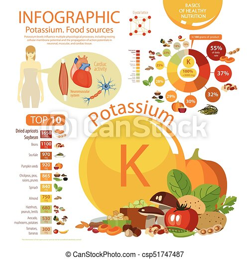 "Infographics ""Potassium. Food sources."" Food with the maximum content of potassium. Interest from the daily rate. Pie chart and top 10. Effect of potassium on the human body. - csp51747487"
