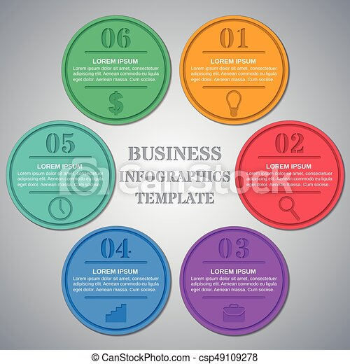 Infographics Templates 6 Option Parts Steps Infographic Circle