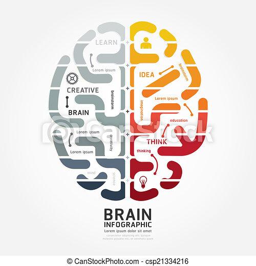 infographics vector brain design diagram line monochrome colour  - csp21334216