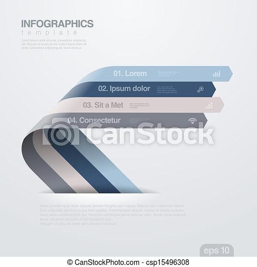 infographics, vetorial, desenho, arrows., template., fita - csp15496308