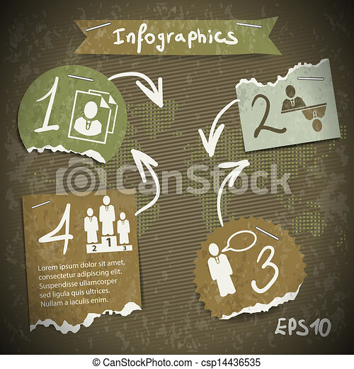 infographics with torn pieces of paper in vintage style scrapbooking - csp14436535