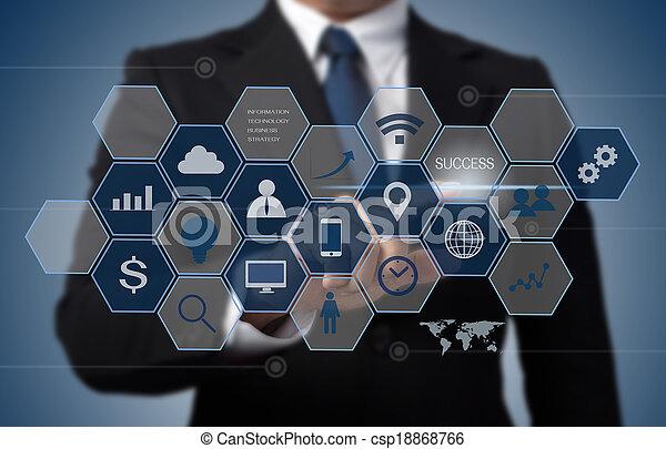 informação, conceito, negócio, trabalhando, modernos, computador, interface, tecnologia, homem - csp18868766