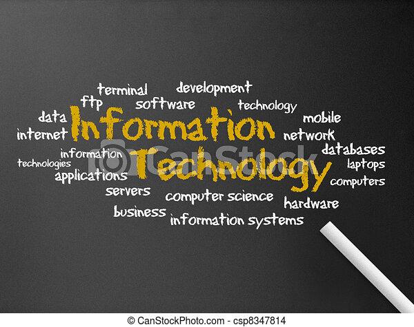 informação, -, tecnologia, chalkboard - csp8347814