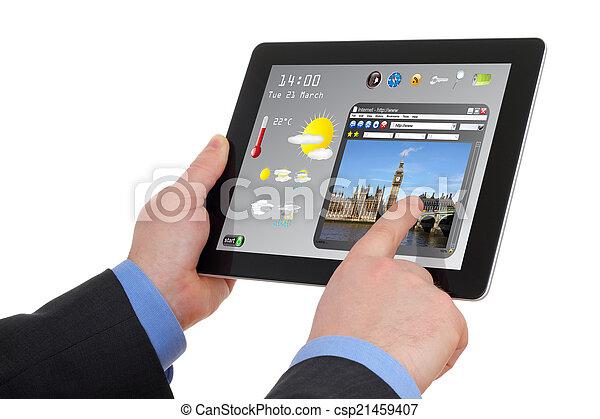 informação, touchscreen, procurar, almofada, homem negócios, turismo - csp21459407