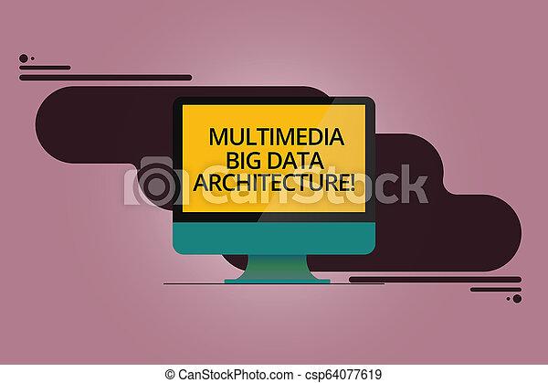 Escribiendo texto multimedia gran arquitectura de datos. Concepto que significa que la red de información online montaba monitor de computadora en blanco reflejaba la pantalla en el fondo abstracto. - csp64077619