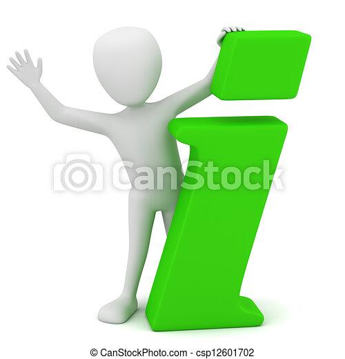 3D gente pequeña - icono de información - csp12601702