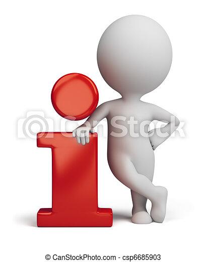 3d gente pequeña - icono de información - csp6685903