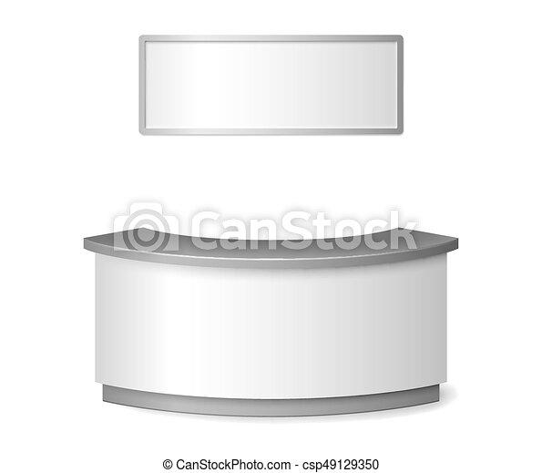 Maquillaje blanco de recepción. Información redonda o contra ilustración de exposición aislada en antecedentes blancos. Ilustración vectorial 3D. - csp49129350