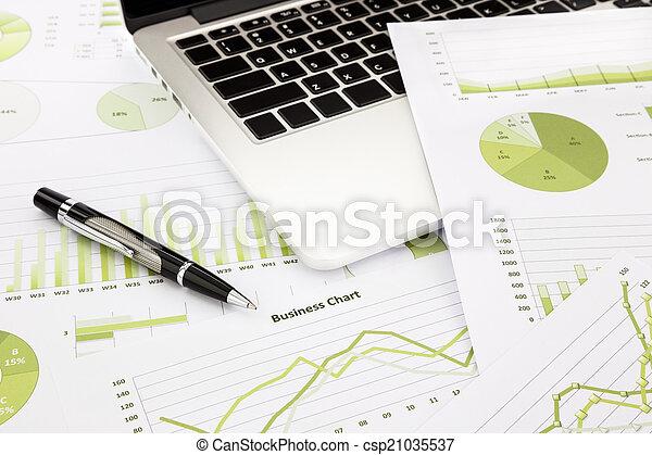 informacja, handlowy, laptop, wykresy, pióro, zielony, wykresy - csp21035537