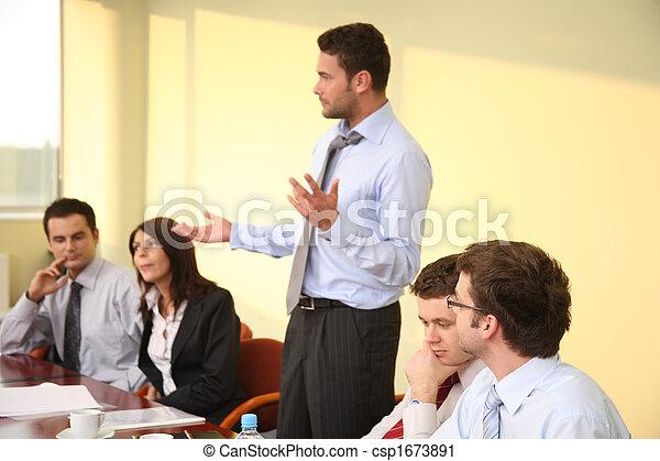 informal business meeting - man boss speech - csp1673891