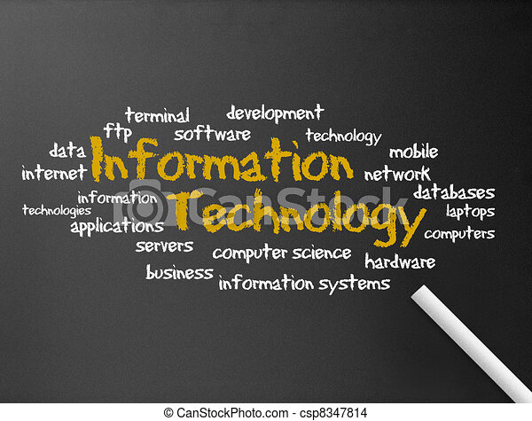 informatie, -, technologie, chalkboard - csp8347814