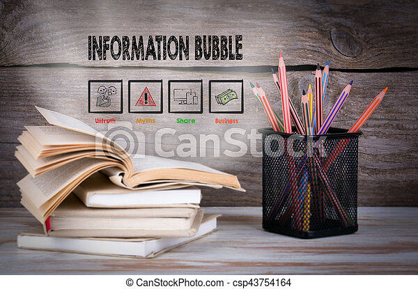 Information Bubble. Stack of books and pencils on the wooden table. - csp43754164