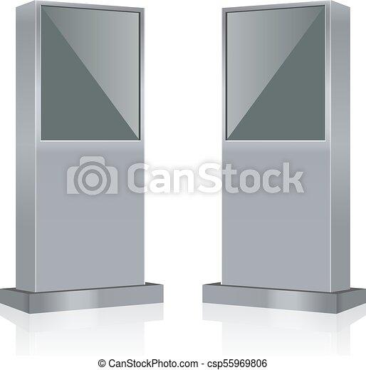 information, console, écran, kiosque, terminal, vecteur, stand, infokiosk, exposer, interactif - csp55969806