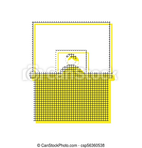 Information Desk sign. Vector. Yellow icon with square pattern d - csp56360538