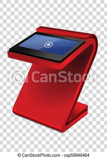 information, display., écran, kiosque, haut, promotionnel, terminal, stand, toucher, interactif, template., railler, rouges - csp59946464