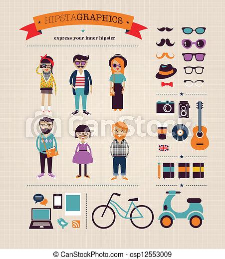 information, graphique, icônes, concept, hipster, fond - csp12553009