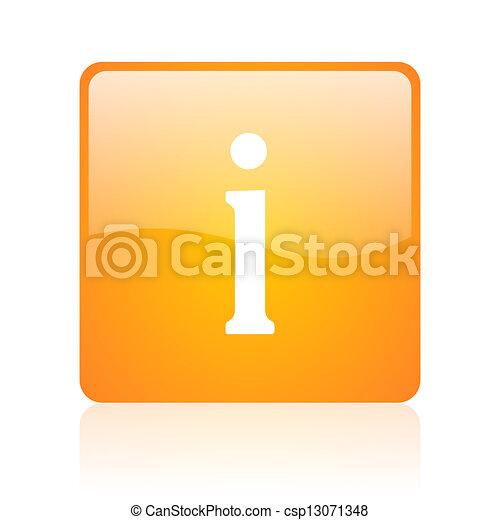 information orange square glossy web icon - csp13071348