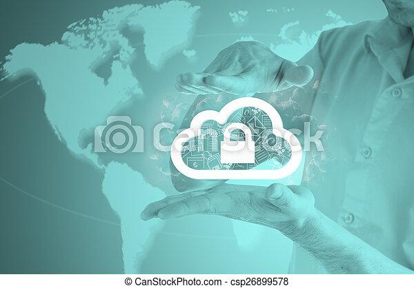 information, protéger, concept., computing., sécurité, sécurité, données, nuage - csp26899578