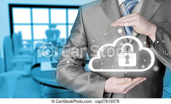 information, protéger, concept., computing., sécurité, sécurité, données, nuage - csp27619379