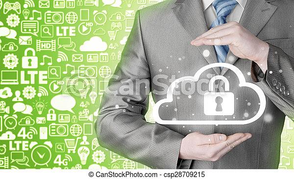 information, protéger, concept., computing., sécurité, sécurité, données, nuage - csp28709215