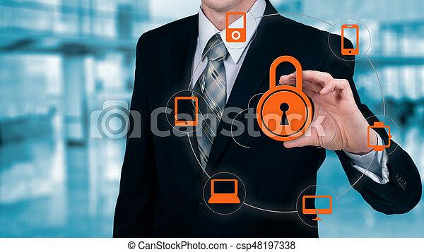 information, protéger, concept., sécurité, sécurité, données, nuage - csp48197338