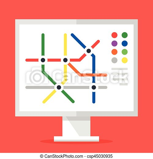 Subway Map Graphic Design.Information Stand With Subway Map Metro Map Concept Modern Flat Design Graphic Elements Vector Illustration