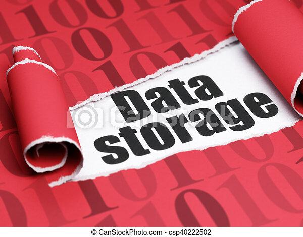 information, texte, déchiré, stockage, papier, noir, sous, morceau, données, concept: - csp40222502
