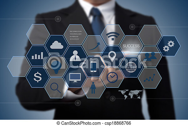 Geschäftsmann arbeitet mit moderner Computerschnittstelle als Informationstechnologiekonzept - csp18868766