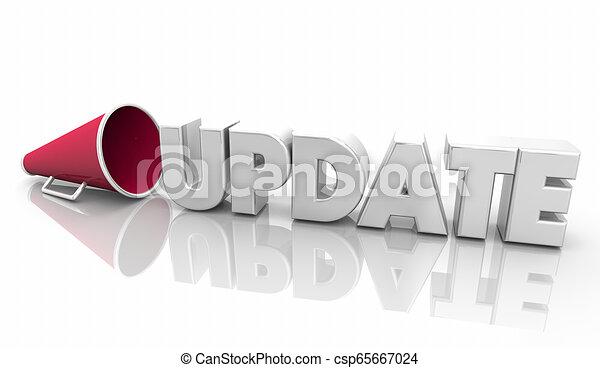 informationen, wort, aktualisierung, abbildung, megafon, nachrichten, megaphon, 3d - csp65667024