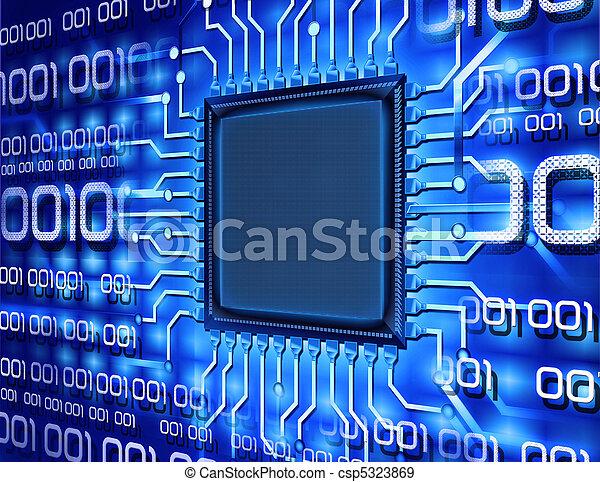 informatique, binaire, puce - csp5323869