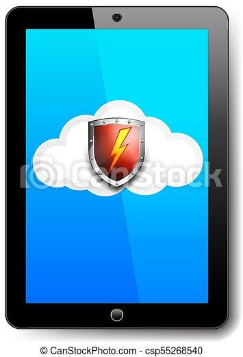 informatique, bouclier, tablette, symbole, éclair, protection, rouges, icône, sauvegarde, nuage, boulon - csp55268540