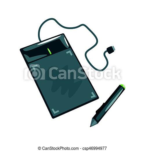 informatique, coloré, tablette, illustration, dessin, équipement, vecteur, artistique, pen., dessin animé - csp46994977