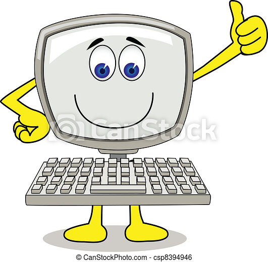 informatique, dessin animé - csp8394946