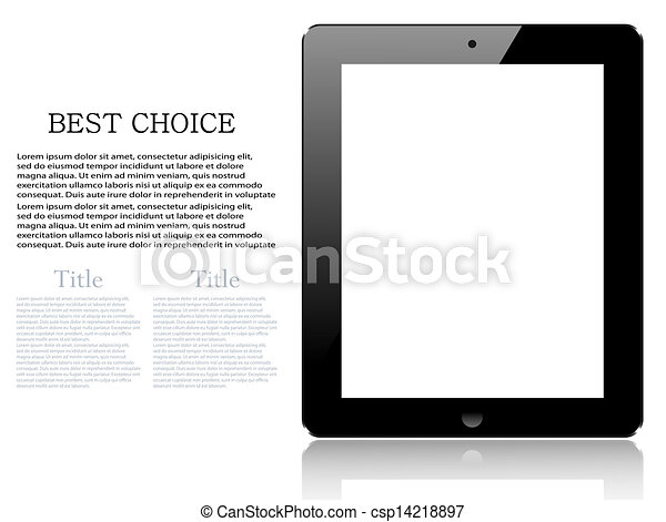 informatique, tablette, réaliste, isolé, arrière-plan., vecteur, eps10, blanc - csp14218897