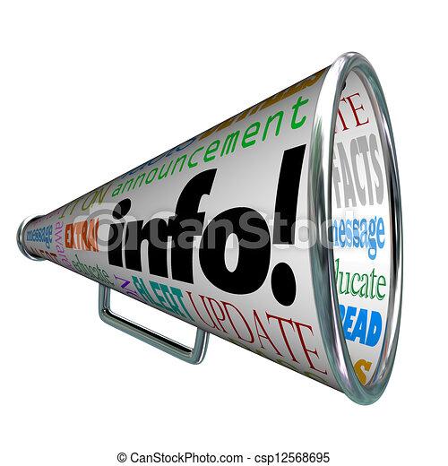 informazioni, informazioni, aggiornamento, allarme, bullhorn, megafono - csp12568695