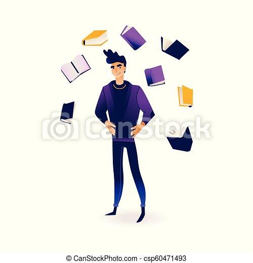 informazioni, volare, sources., circondato, giovane, libri, uomo - csp60471493