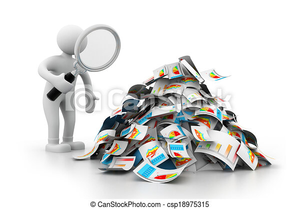 Hombre analizando el informe de negocios - csp18975315
