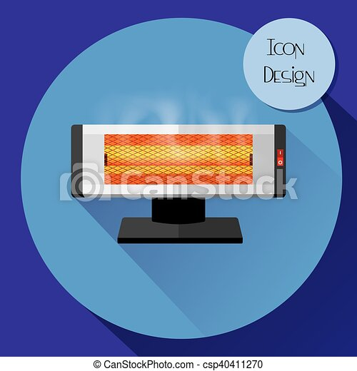 Infrared electric heater. Design icons in flat style. - csp40411270