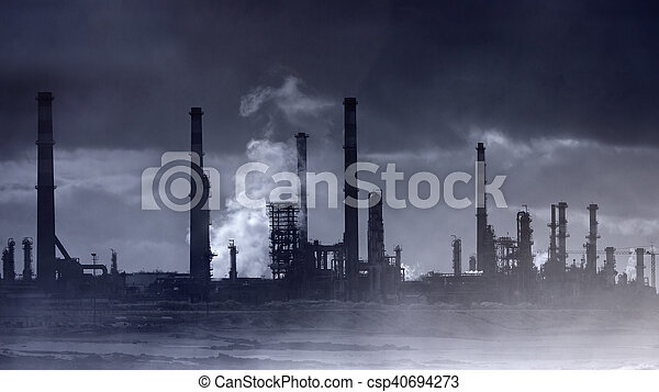 Infrared oil refinery by the sea - csp40694273
