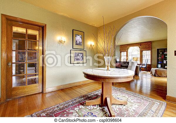 ingang, luxe, interieur, thuis, tafel., ronde - csp9398604