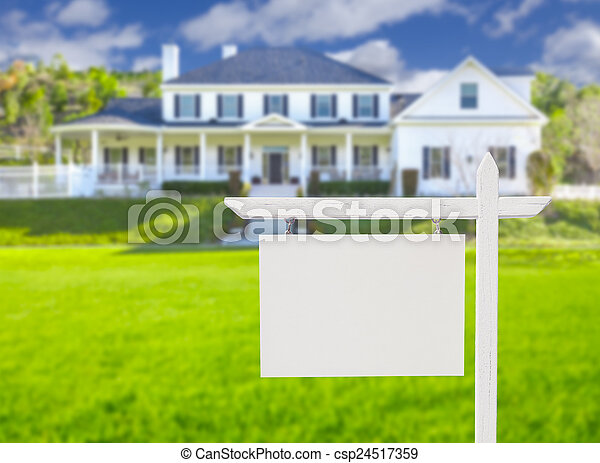 ingatlan tulajdon, épület, aláír, tiszta, elülső, új - csp24517359