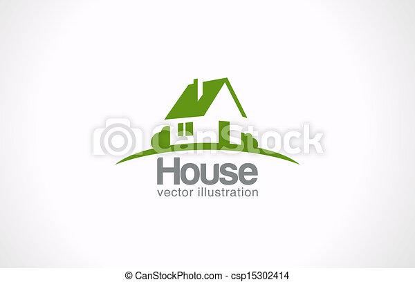 ingatlan tulajdon, épület, elvont, countryside., telek, jel, icon. - csp15302414