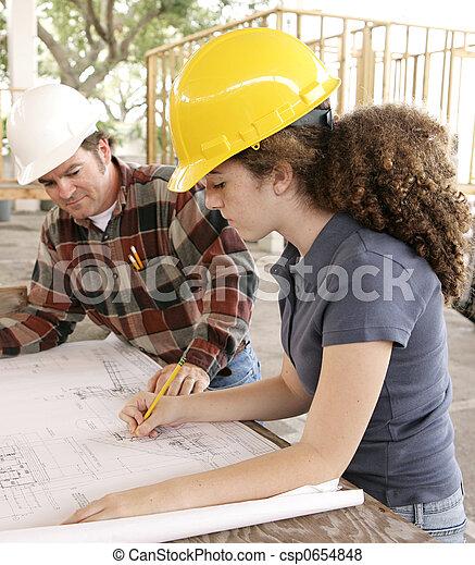 ingeniería, planos, estudiante, mancha - csp0654848