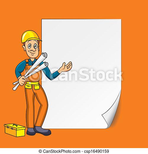 ingenieur, papier, leeg - csp16490159