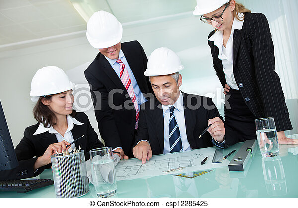 ingenieure, versammlung, oder, architekten, strukturell - csp12285425