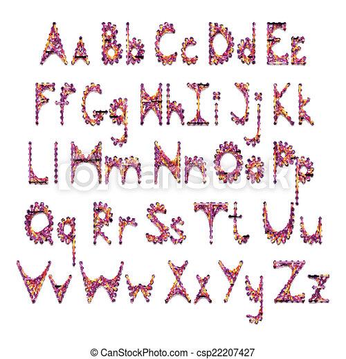 El alfabeto vector inglés bordado en cartón - csp22207427